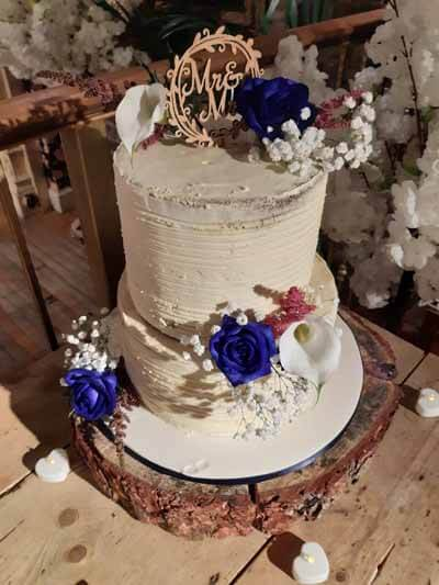 Weddings - Cake Flowers - Blue Rose, Gyp, White Calla Lily & Rose Pink Astilbe