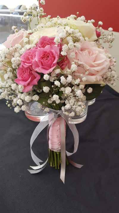 Weddings - Bridsmaids Handtie Bouquet - Sweet Pink Avalanche Roses, Pink Spray Roses & Noami Ivory Roses, Gyp & solid/Organza ribbon