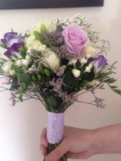 Weddings - Bridesmaid Handtie Bouquet - Rose, Freesia, Eustoma, Limonium, Gyp, Bouvardia & Trechelium