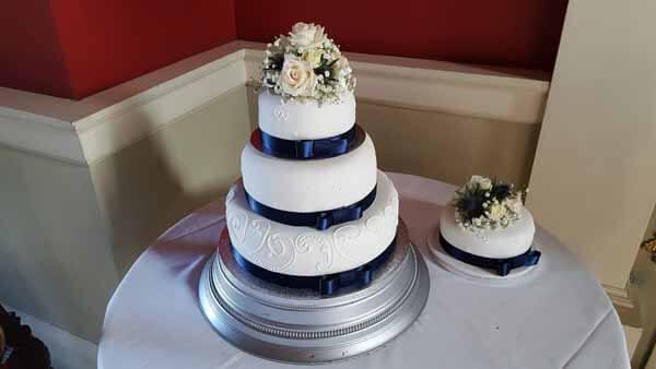 Weddings - Cake Flowers - Vendela Rose, Spray Rose & Blue Thistle