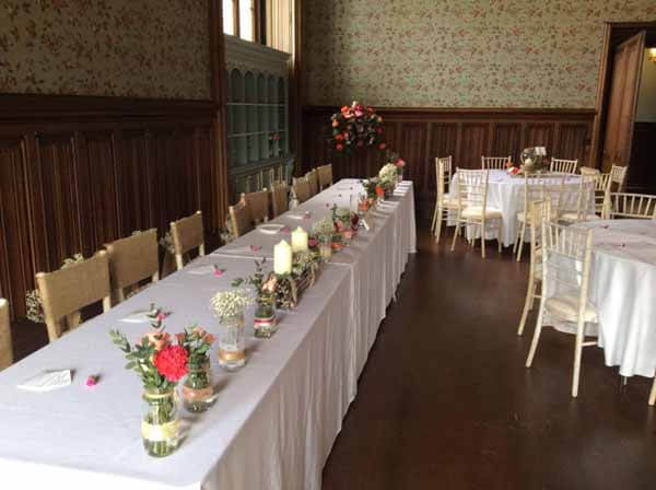 Weddings - Top Table - Decorated Jars - Carnations, Roses, Gyp & Foliage
