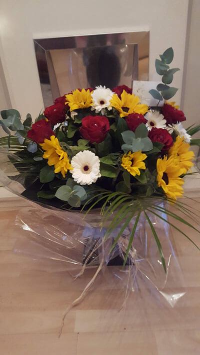 Flower Gift Bouquets - Handtie Bouquet - Sunflower, Red Roses, Mini White Gerbera, Palm, Eucalyptus & Diamantes, Raffea & Black Box