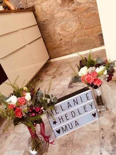 Weddings - Brides & Bridesmaid Handtie Bouquets - Ivory Roses, Burgundy Dahlia, Cerise Bouvardia Foliage, Gyp, Thlaspi, Peach Spray Roses & Ribbon