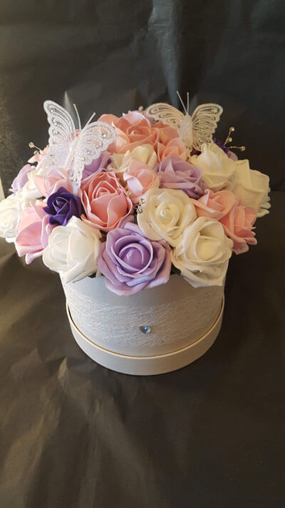 Gifts - Artificial Hat Box - Champagne Large box - Pink, Lilac, White & Purple roses, Diamantes, White Butterflies, Soft Lace Trim, Gem