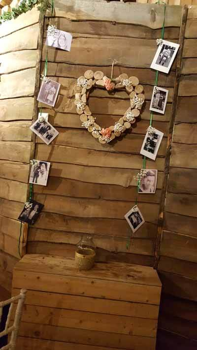 Weddings - Memory Board - Wooden Heart - Peach Roses and Gyp & Hanging Photos