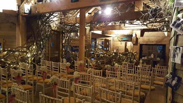 Weddings - Chair End Sprays - Gyp and Burgundy Ribbon