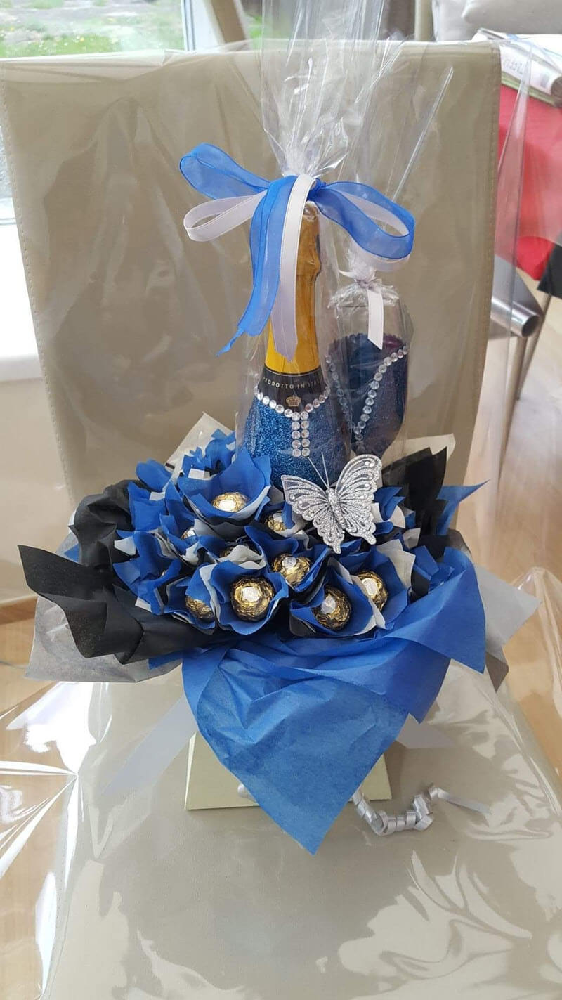 Gifts - Chocolate & Alcohol Bouquet - 20 Roche Chocolates, Ivory Box, Black Blue Ivory Tissue, Silver Ribbon & Silvery Butterfly & Prosecco Bottle & 1 Glass, Glitter Blue