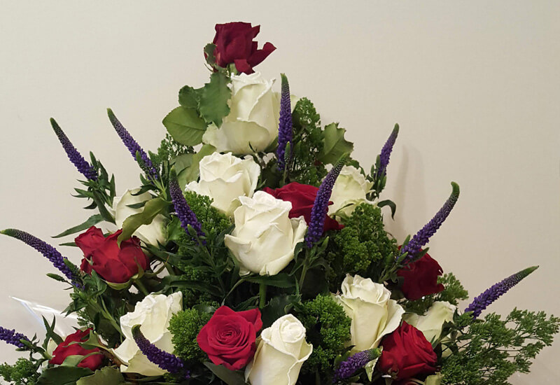 Christmas Bouquets and Arrangements - Christmas Front Facing Bouquet - in wet foam, Frosted Roses, Veronica, Roses, Green Trechelium & Ribbon, Box