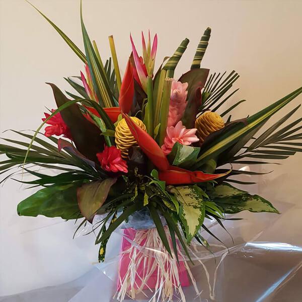 Flower Gift Bouquets and Arrangements - Tropical Handtie Bouquet - Cerise Pink & Yellow Flowers, Birds of Paradise, Palm & Tropical Foliage Leaves & Raffea, Box