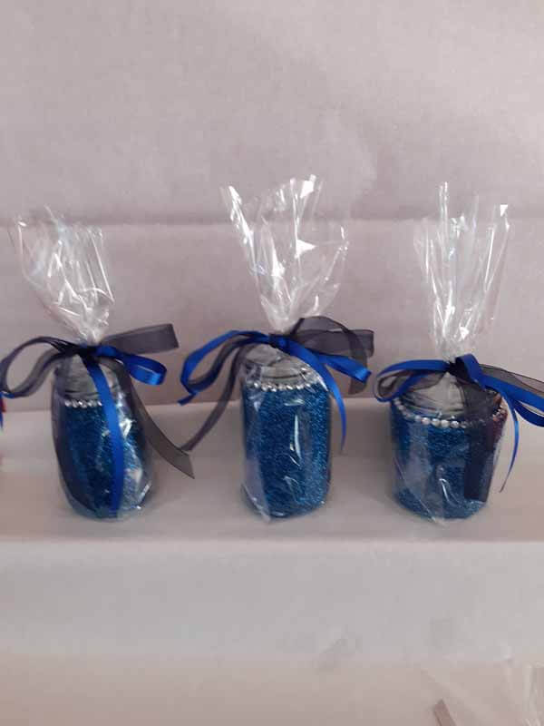 Blue Medium Sweet Glittered Jars