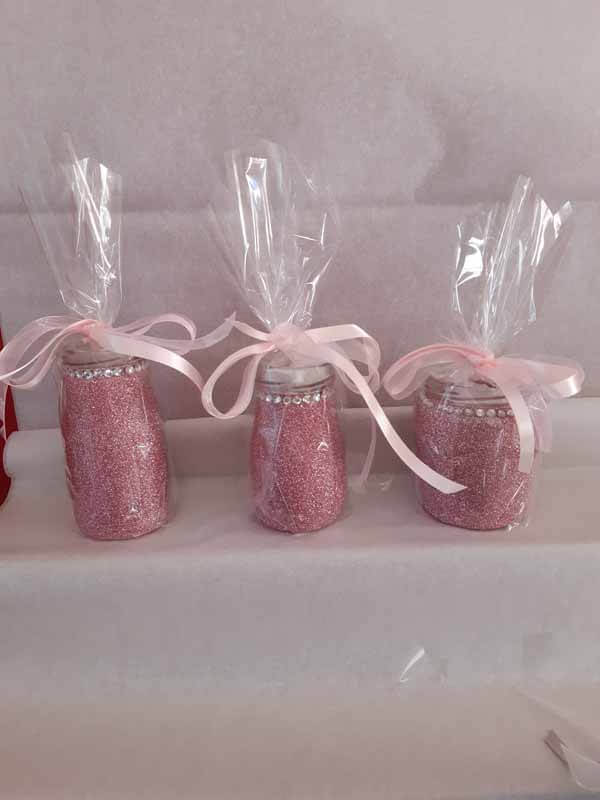 Pink Medium Sweet Glittered Jars
