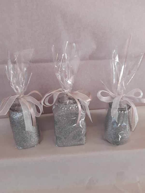 Silver Medium Sweet Glittered Jars