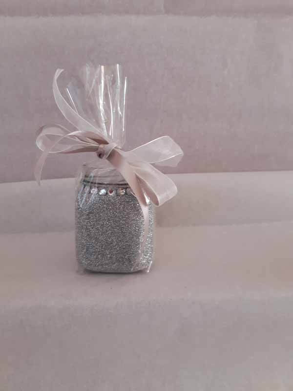 Silver Small Sweet Glittered Jars