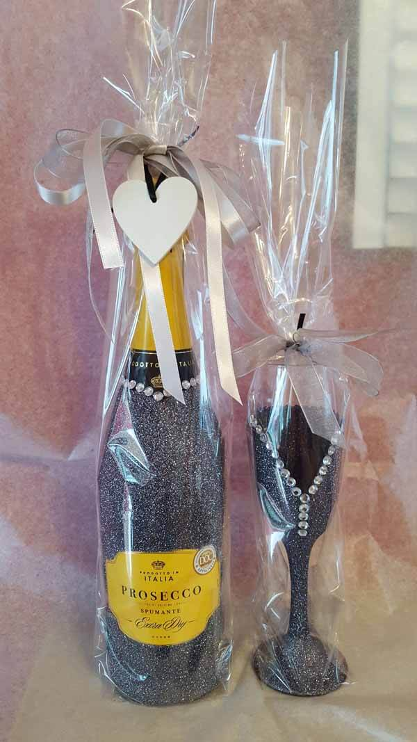 Tall Prosecco and Flute Glass Gunmetal Silver