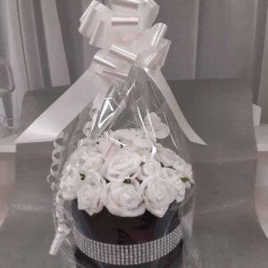 black artificial round hatbox