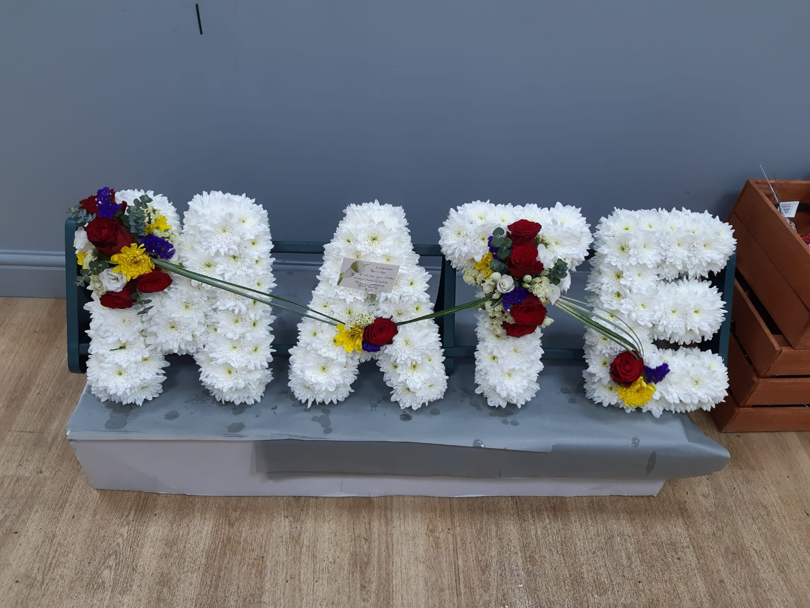 Funeral letters soray roses statice eustoma chrysant