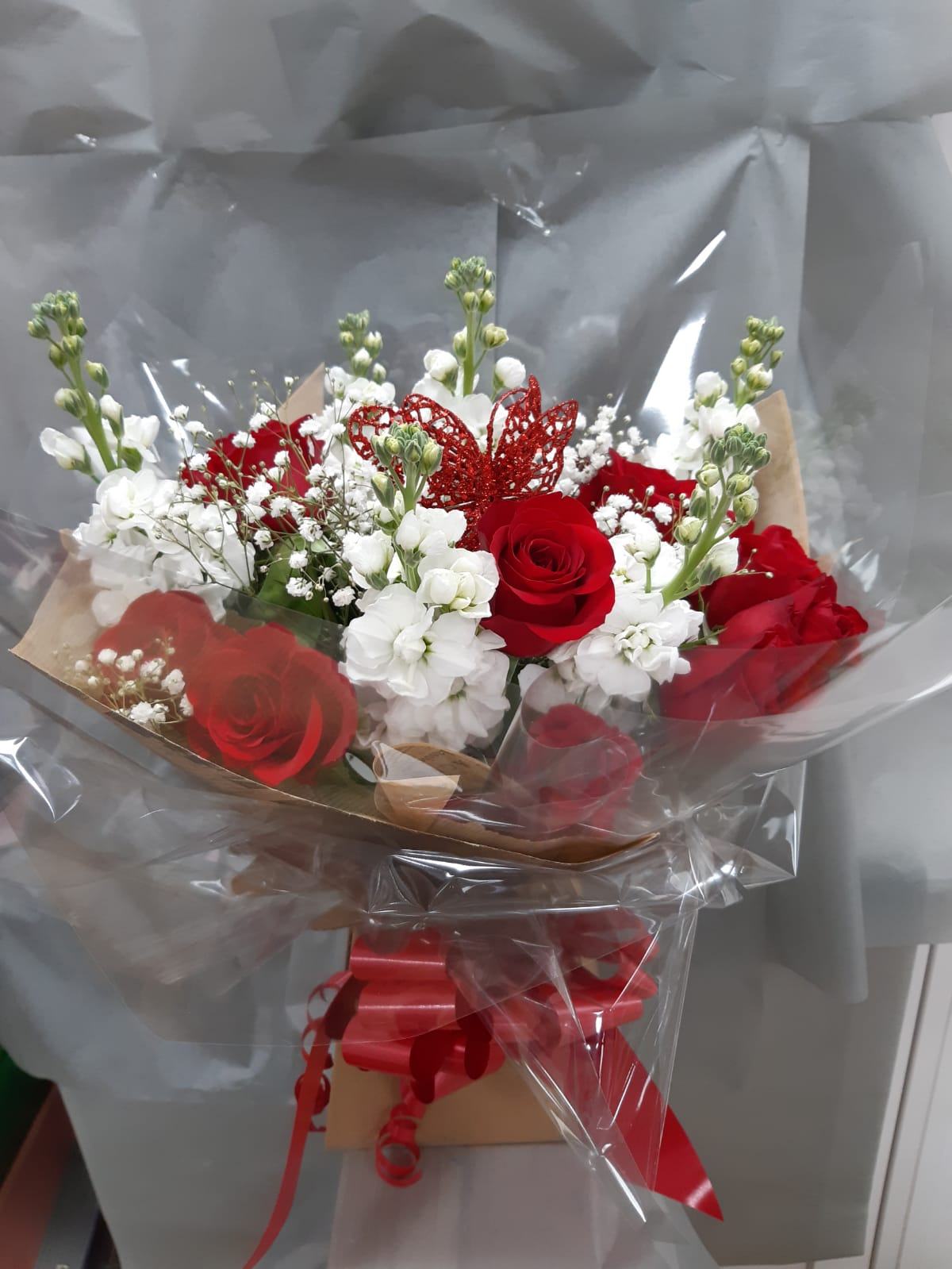 Flower arrangements handtie bouquet roses stock